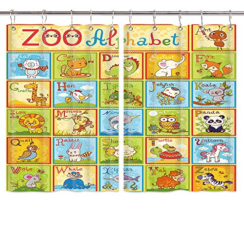 Abc Baby Valance - JAWO Cartoon Zoo Animals Alphabet Window Curtains for Kids, ABC Educational Learning Tool for Boys Babies Kitchen Decorations Window Drapes, Window Treatment Sets 2 Panels with Hooks, 55X39Inches