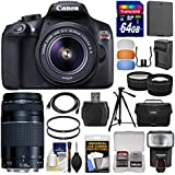Canon EOS Rebel T6 Wi-Fi Digital SLR Camera & EF-S 18-55mm is II 75-300mm III Lens + 64GB Card + Case + Flash + Battery & Charger + Tripod + Kit