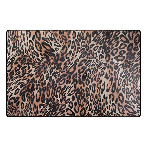 TSWEETHOME Doormat Area Rugs Outdoor Inside Mats Personalized Welcome Mats with Leopard Texture for Chair Mat and Decorative Floor Mat for Office and Home (31 x 20 in & 60 x 39 in) -