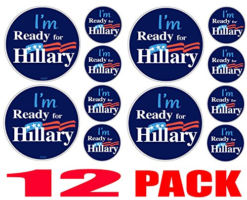 12 PACK BUMPER STICKERS: I'm Ready For Hillary - Hillary Clinton ROUND Vinyl . 4 at 4