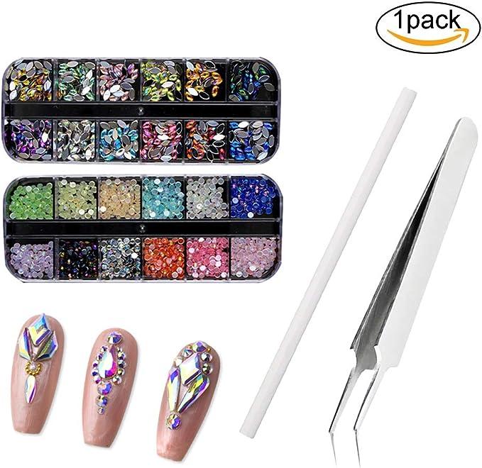 1Pack DIY Nail Art Kit de accesorios de uñas brillante Espárragos diamantes de imitación multicolor Uñas Útil arte de la pluma curvada punta Pinzas del arte del clavo fuentes de las decoraciones: