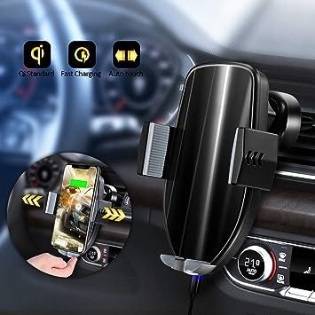 Olycism Cargador Inal/ámbrico Coche Qi Cargador Inalambrico Movil con Soporte de Tel/éfono para iPhone X XR XS MAX 8 Plus Samsung Galaxy Note 8 S9 S8 S7 Todo Qi habilitado Smartphone