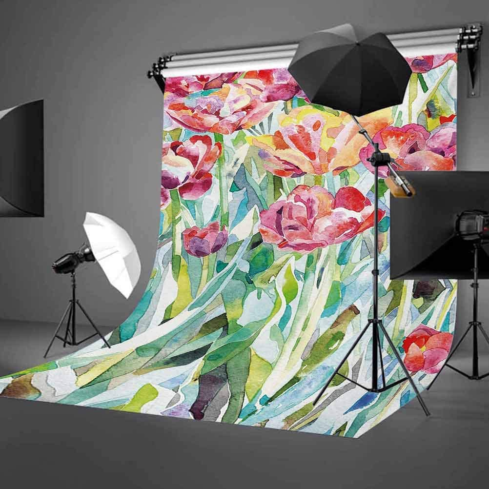 6.5x10 FT Backdrop Photographers,Painting of Summer Spring Flowers in Faded Colors Floral Seasonal Print Background for Kid Baby Boy Girl Artistic Portrait Photo Shoot Studio Props Video Drape Vinyl