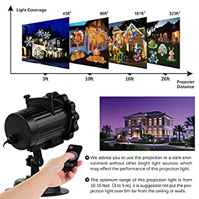 Christmas Projector Lights, Amicool Outdoor Halloween Projector Lights Waterproof LED Rotating Night Lights Snowflake Spotlight with 16 Slides for Thanksgiving Party Garden Decoration