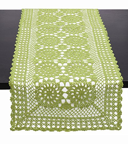 Fennco Styles Handmade Crochet Lace Cotton Rectangular Table Runner (16