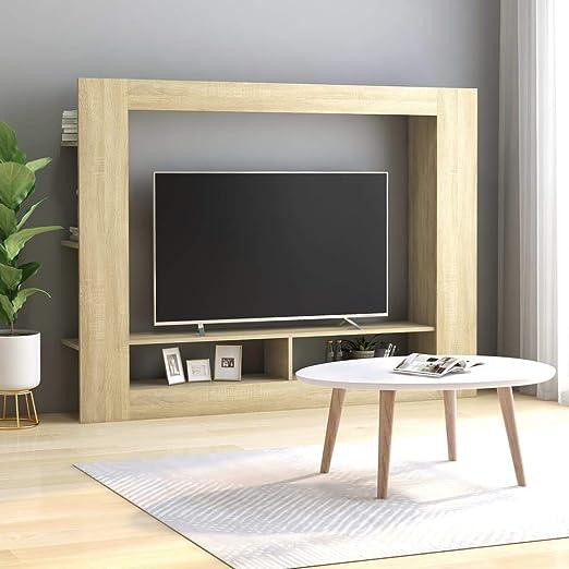 UnfadeMemory Mueble para TV Moderno,Soporte del Televisor,Mueble de Hogar,con Estantes Laterales,Madera Aglomerada,152x22x113cm (Roble Sonoma): Amazon.es: Hogar
