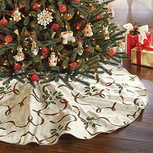 Lenox Holiday Nouveau Ivory Christmas Tree Skirt Gold Plaid Ribbon Holly Berries 60