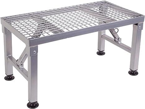 Einzeltritt Trittstufe klappbar aus Stahl bis 150 kg Belastbar Rutschfest T/ÜV gepr/üft Silber