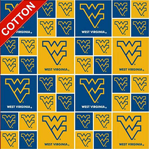 West Virginia University Mountaineers NCAA Cotton Fabric - 45