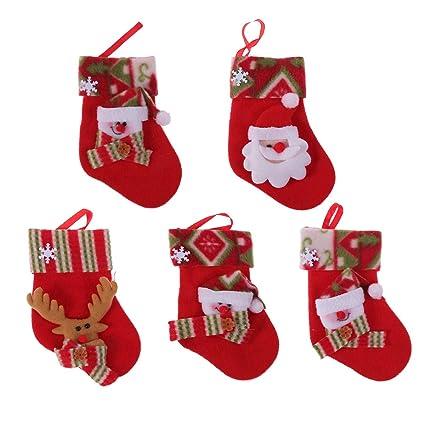 VORCOOL Mini Calcetines de Navidad Árbol de Navidad Chimenea Colgando Dulces Regalos Bolsas Favores de Fiesta