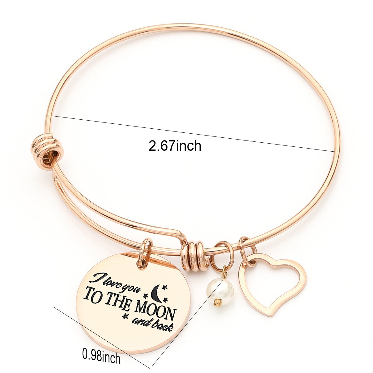 MONASOC Charm Bracelet i love you to the moon and back Expandable Pearl Bangle Gift jewerly For Women Girl Sister Mother Friends by MONASOC (Image #2)