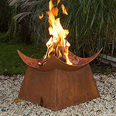 Esschert Design Wood Burning Fire Bowl - Dimensions: 19L x 19W x 15H in. Includes fire bowl and square base Wood burning - patio, fire-pits-outdoor-fireplaces, outdoor-decor - 61Ytnfvj3fL. SS400  -