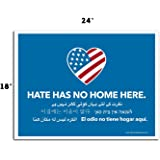 VIBE INK Large 24x18 Hate Has No Home Here Yard Sign - UV Inks, Double-Sided, Waterproof, Made in The USA - Metal Stake Included!