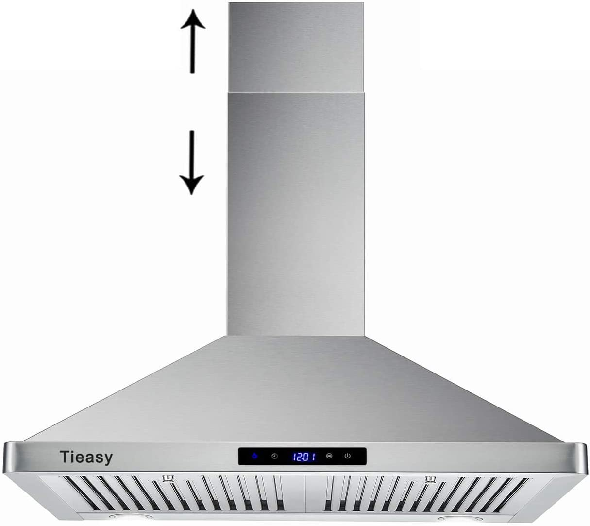 Wall Mount Range Hood 30 inch Kitchen Hood 700 CFM with Touch Control Permanent Filters Stainless Steel 3 Speed Exhaust Fan LED Light, Tieasy