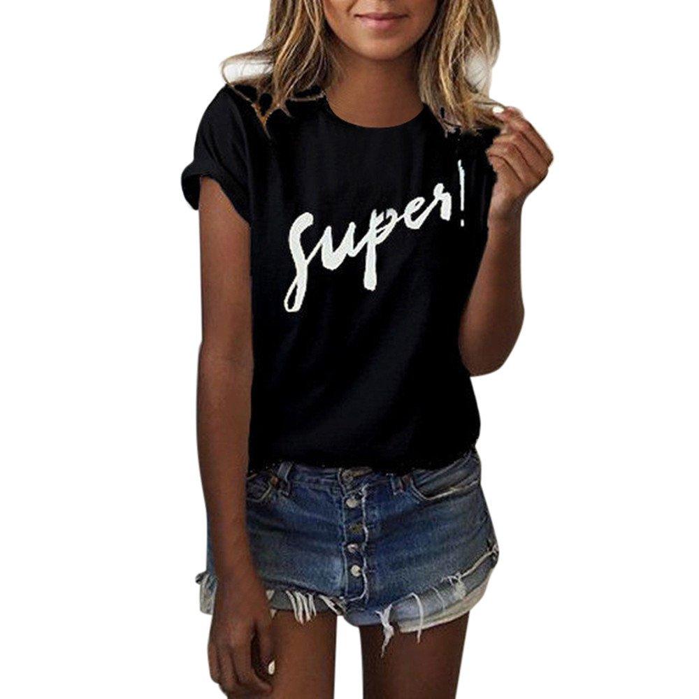 Libermall Women's Casual Short Sleeve T-Shirt Letter Printing Loose Tunic Shirt Blouse Tops for Teen Girls Black