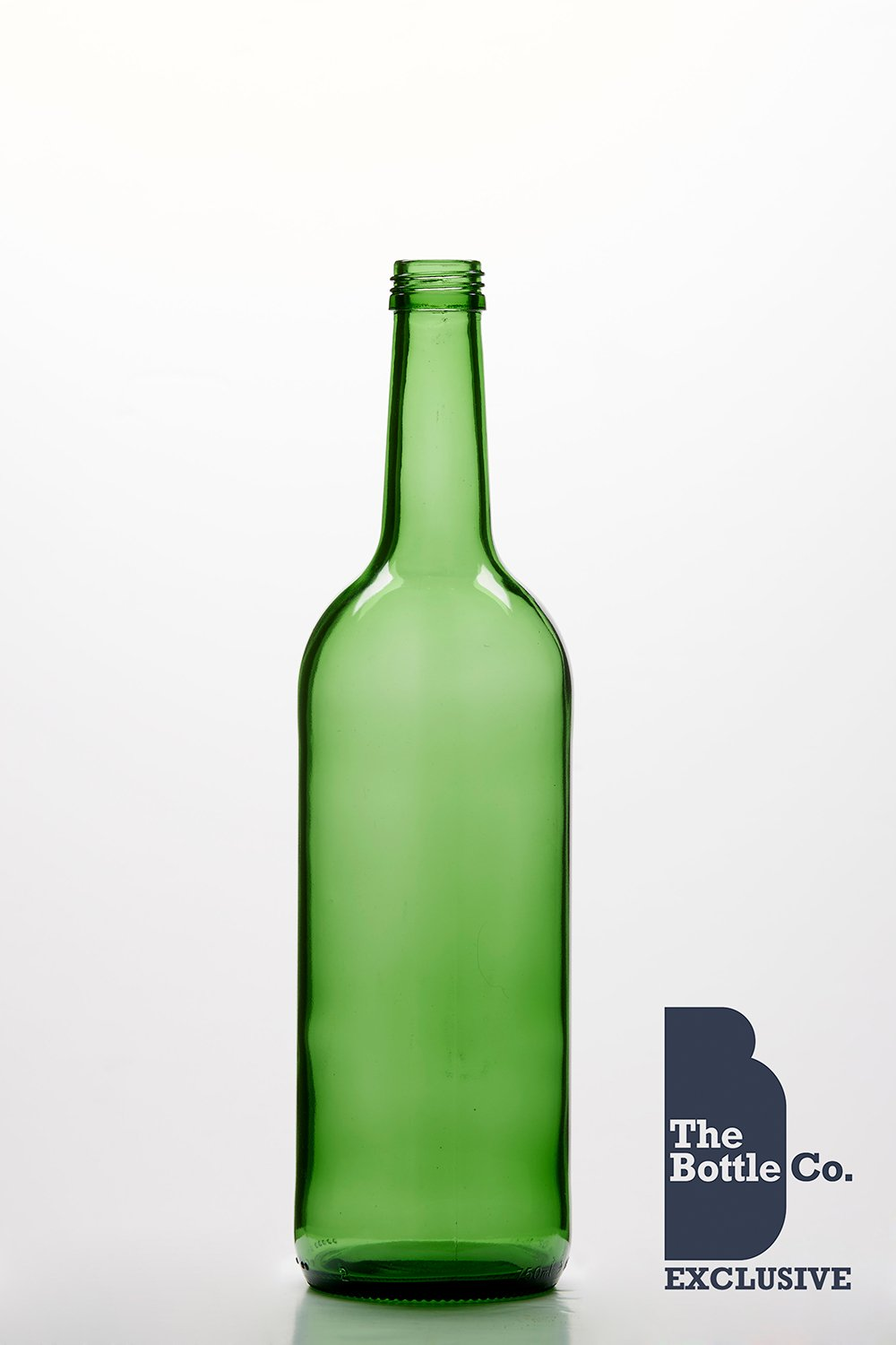 BOTTLE COMPANY 48 X 750ML APPROX ROUND GREEN (MINERAL) GLASS JUICE,WATER,CIDER,LIQUOUR,WINE,BEER BOTTLE C/W GOLD T/E CAP 750MING48