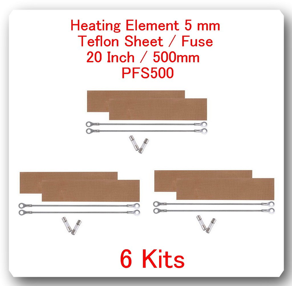 (6 Kits)(REPLACEMENT ELEMENTS FOR IMPULSE SEALER PFS-500 = 20