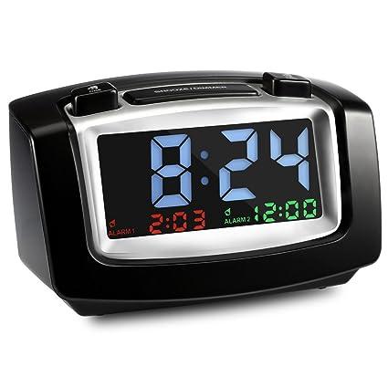 InLife Reloj Despertador Digital con Doble Alarma Brillo Ajustable con Función de Snooze 2 Puertos de