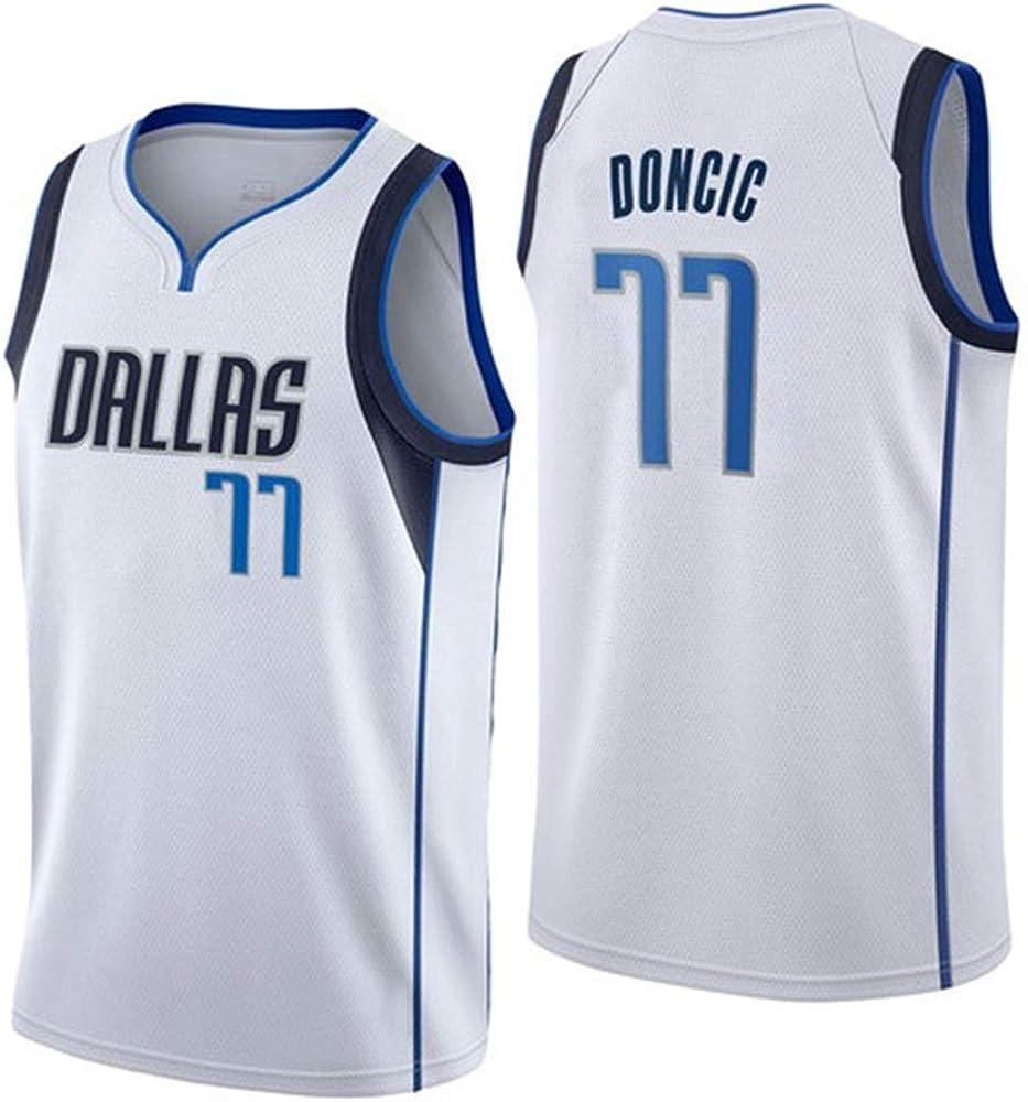 Camiseta de Baloncesto para Hombre, Dallas Mavericks 77 Doncic Retro Jugador de Baloncesto Jeysey, Bordado Transpirable y Resistente al Desgaste Camiseta para Fan: Amazon.es: Ropa y accesorios