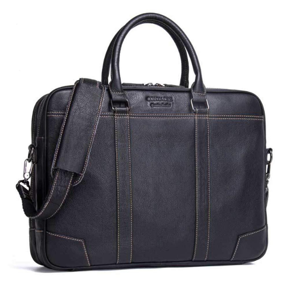 MUMUWU Men's Business Briefcase Leather Shoulder Bag Casual Handbag Travel Bag (Color : Black, Size : L)