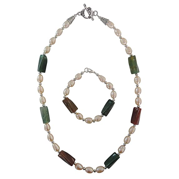 Pearlz Ocean Freshwater Pearl and Fancy Jasper 2-Pieces Necklace Set For Women Women at amazon