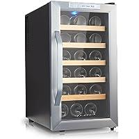 Kalamera KR-18ASS Edelstahl Weinkuehlschrank 48 Liter 18 Flasche Weinklimakuehschrank Minibar Freistehend  Temperaturzonen 8-18