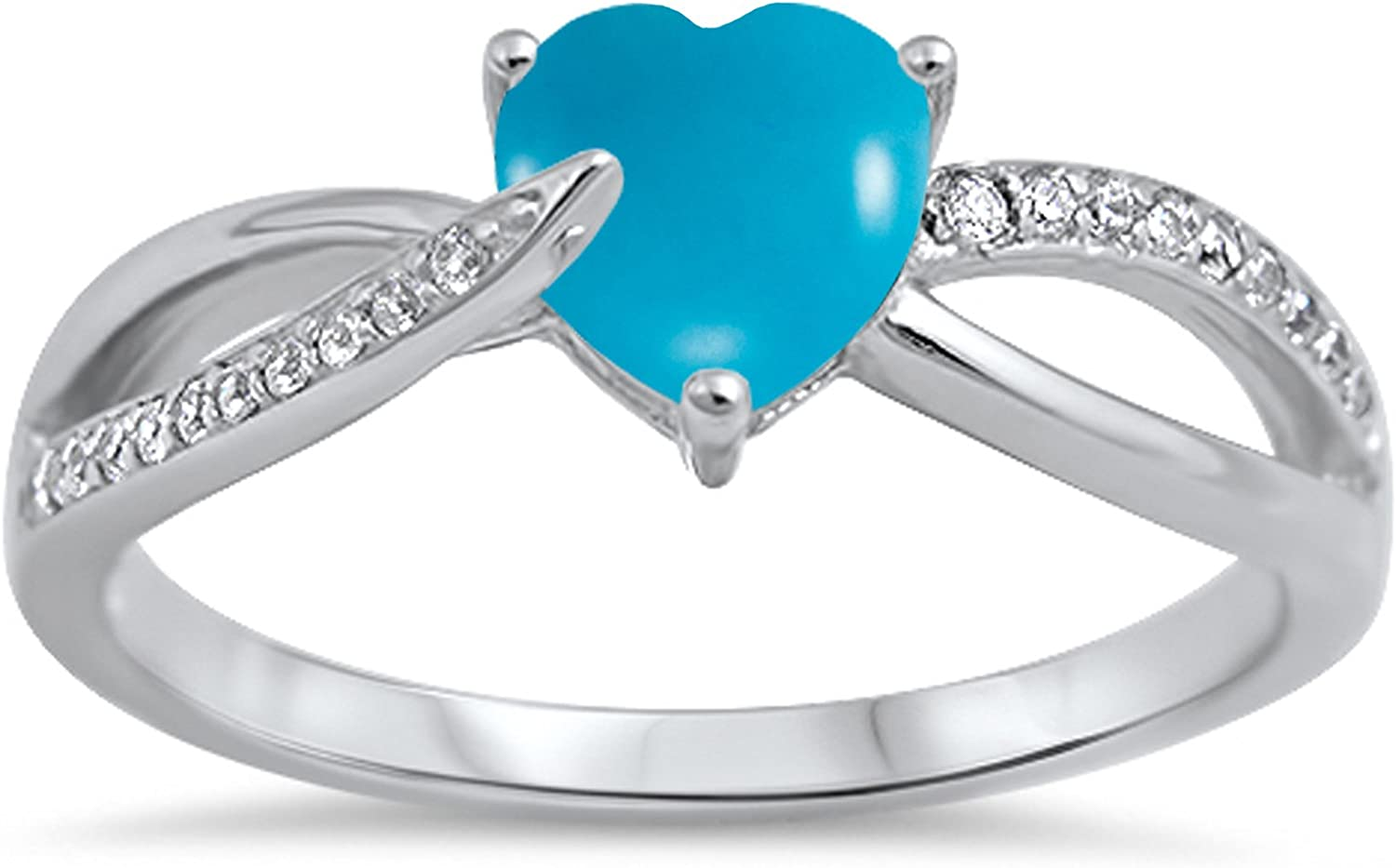 CHOOSE YOUR COLOR Sterling Silver Heart Promise Ring