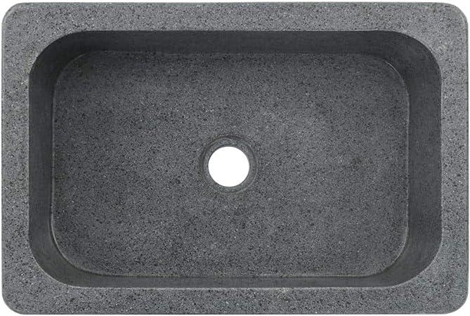 UnfadeMemory Lavabo de Piedra de Ba/ño en Forma Rectangular,Adorno para Hogar,Estilo R/ústico,Piedra de R/ío,Negro 30x30x15cm