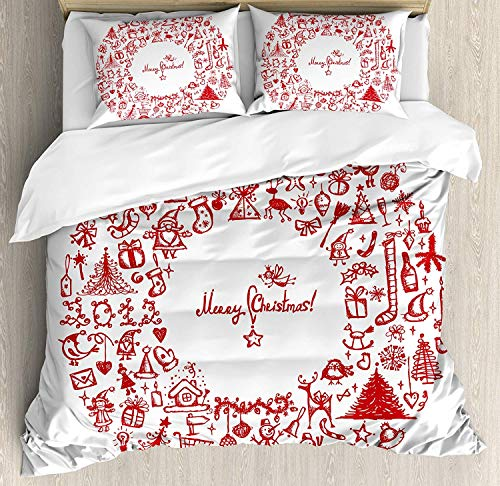 - Bedding Set 3pc Duvet Cover Set Full Size Vintage Merry Xmas Wreath with Several Noel Yule Icons and Ribbons Candles Bells Theme Image Comforter Quilt Cover Sets with 2 Pillow Shams, Christmas