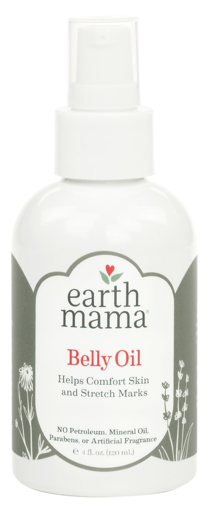Earth Mama Belly Oil to Help Ease Skin and Stretch Marks, 4-Fluid Ounce