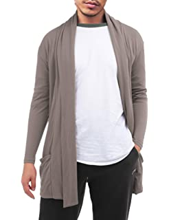 47c9de5e142 FISOUL Men s Cardigan Ruffle Shawl Collar Cardigan Open Front Blend Long  Length Drape Cape Overcoat