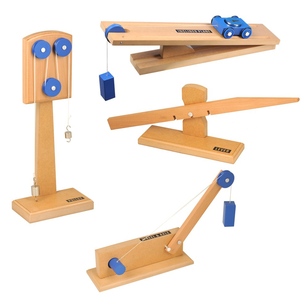 hand2mind Wood Simple Machine Collection with Inclined Plane and Cart, Double Pulley, Lever (Set of 4)