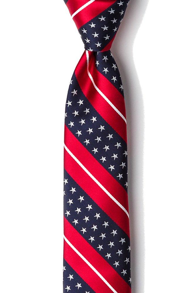 Men's Freedom USA Stars & Stripes American Flag Patriotic Skinny Narrow Tie Necktie