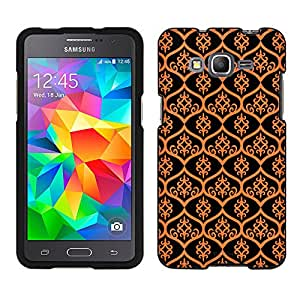 Samsung Galaxy Grand Prime Case, Snap On Cover by Trek Victorian Tileable Orange on Black Case