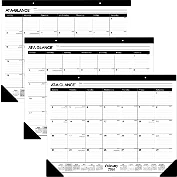 Amazon Com At A Glance 2020 Desk Calendars Desk Pads 21 3 4 X 17 Standard Ruled Blocks 3 Pack Azsk2400 Office Products