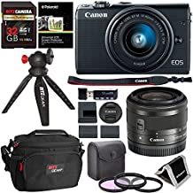 Canon EOS M100 Mirrorless Camera, 15-45mm Lens - Wi-Fi Bluetooth and NFC enabled (Black), Ritz Gear Extreme SD 32GB, Polaroid Filter Kit, Camera Bag, Ritz Gear Tabletop Tripod Red and Accessory Bundle