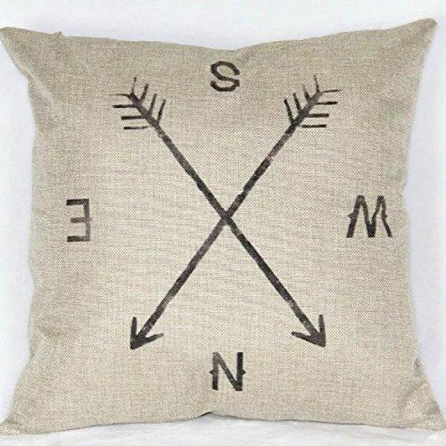 "18"" X 18"" Cotton Linen Square Throw Pillow Case Compass Deco"