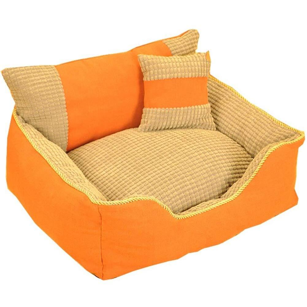 orange-s Pet Nest Pet Sofa Pet Bed Cat Nest Kennel Dog Nest Cat Kennel Backrest Pillow Removable and Washable Indoor Cushion Haiming (color   orange-s)