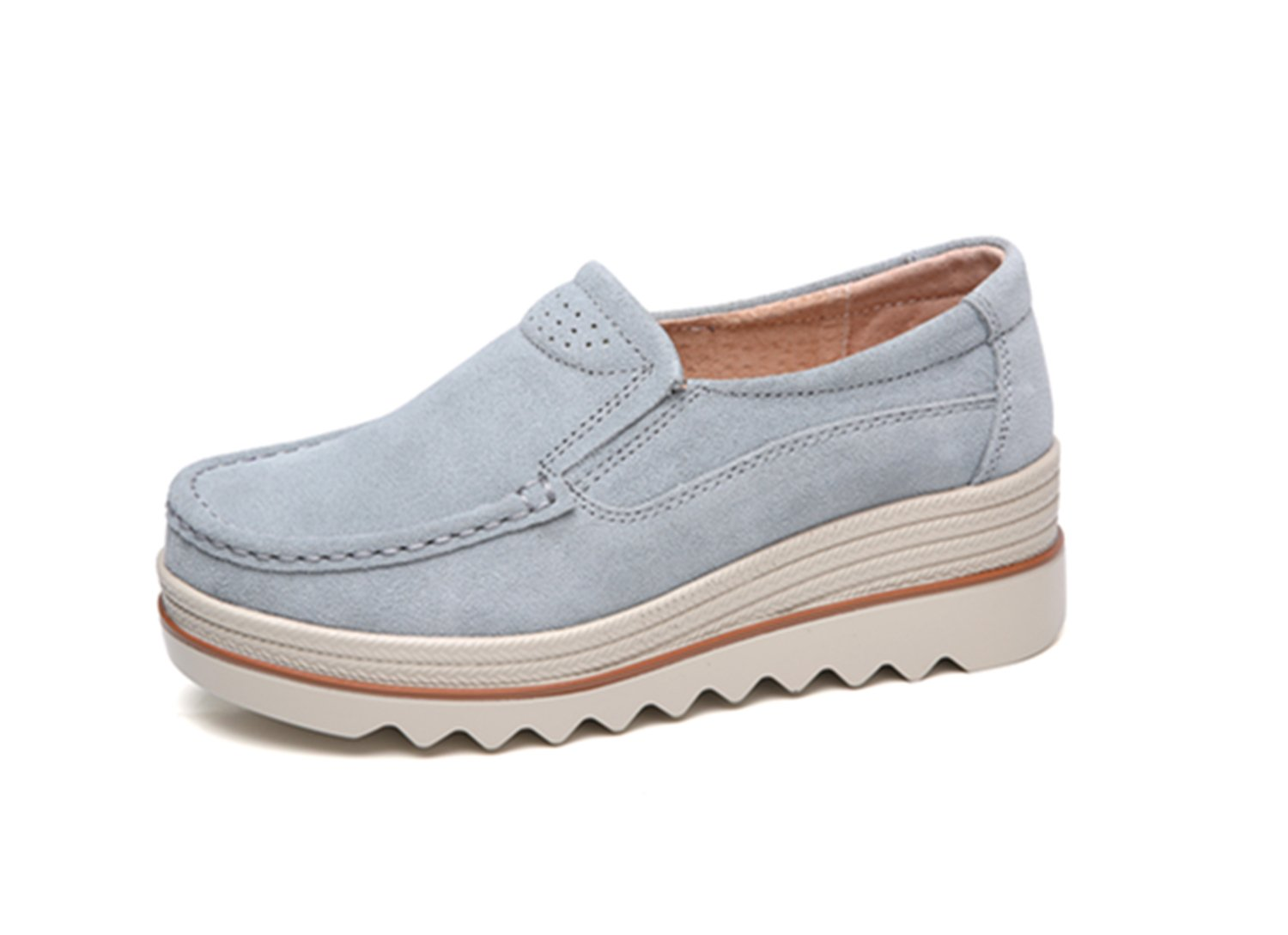 Dhiuow Platform Shoes Women Slip on Loafers Suede Wedge Shoes Comfortable Sneakers for Ladies B07CBC2NGX 5.5 B(M) US|Gray#1