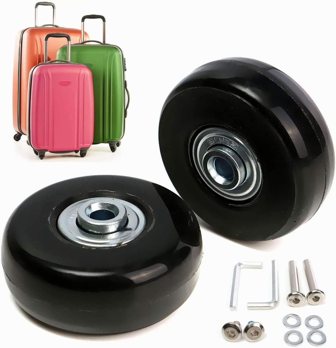 2pcs  Luggage Suitcase Replacement Wheels Axles Deluxe Repair 5022mm