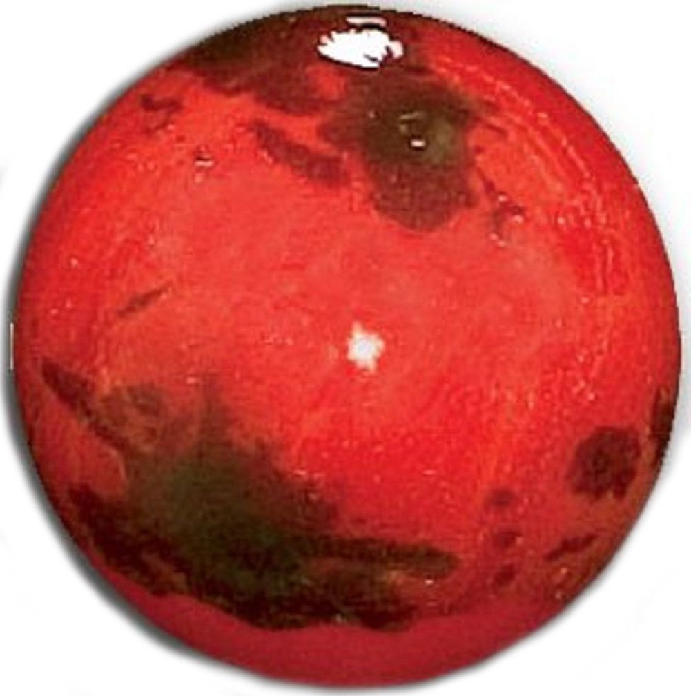 """Unique & Custom {1'' Inch} Set of 3 Big """"Round"""" Opaque Marble Made of Glass for Filling Vases, Games & Decor w/ Simple Space Mars Inspired Educational Design [Black & Red Colors] w/ Stands & Pouch"""
