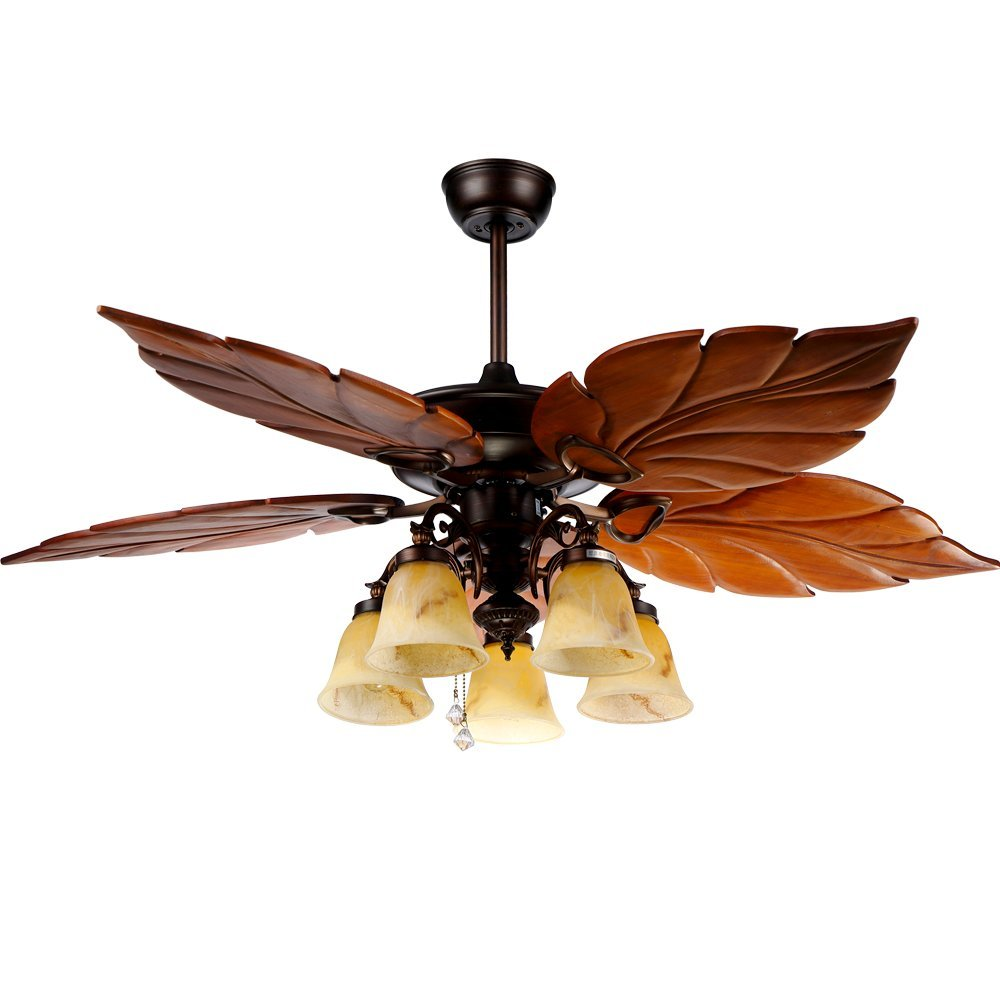 RainierLight Vintage Ceiling Fan 52'' 5 Banana Leaves 5 Frosted Glass Lampshade LED Light for Indoor