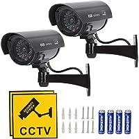 TIMESETL 2Pcs Cámara simulada CCTV Cámara de seguridad simulada con LED rojo parpadeante Cámara de seguridad falsa…
