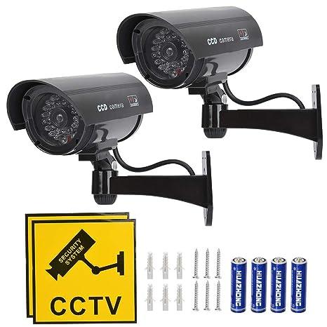 TIMESETL 2Pcs Cámara simulada CCTV Cámara de Seguridad simulada con LED Rojo Parpadeante Cámara de Seguridad