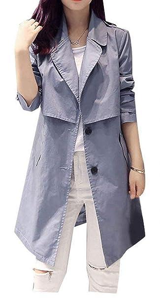 Betrothales Mujer Gabardina Largos Moda Casuales Manga Larga Abrigos Elegantes Unicolor De Solapa Slim Fit Chaquetas Otoño Primavera con Cinturón: ...