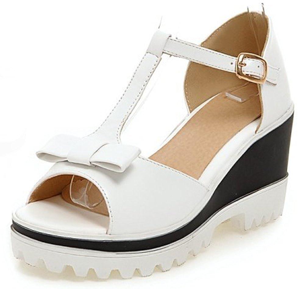 f7ec8d9d254 IDIFU Women s Sweet Bow T-Strap Buckle Ankle Strap Platform Wedge Sandals  Peep Toe High Heel Shoes - Casual Women s Shoes