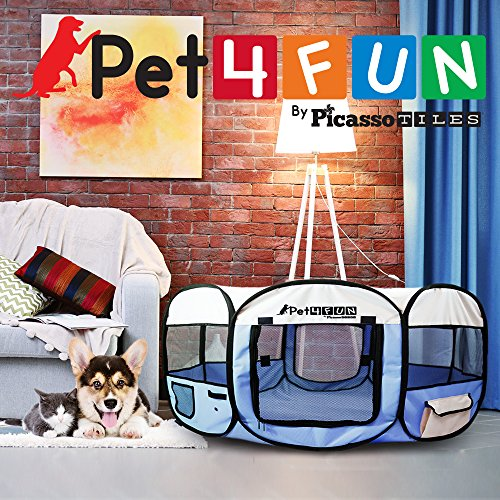 PET4FUN-PN935PN945-Portable-Pet-Dog-Cat-Playpen-Crates-Kennel-w-Premium-600D-Oxford-Cloth-Easy-Setup-Carry-Bag-Removable-Mesh-CoverShade-Storage-Pockets-Available-in-35-43-3-Colors