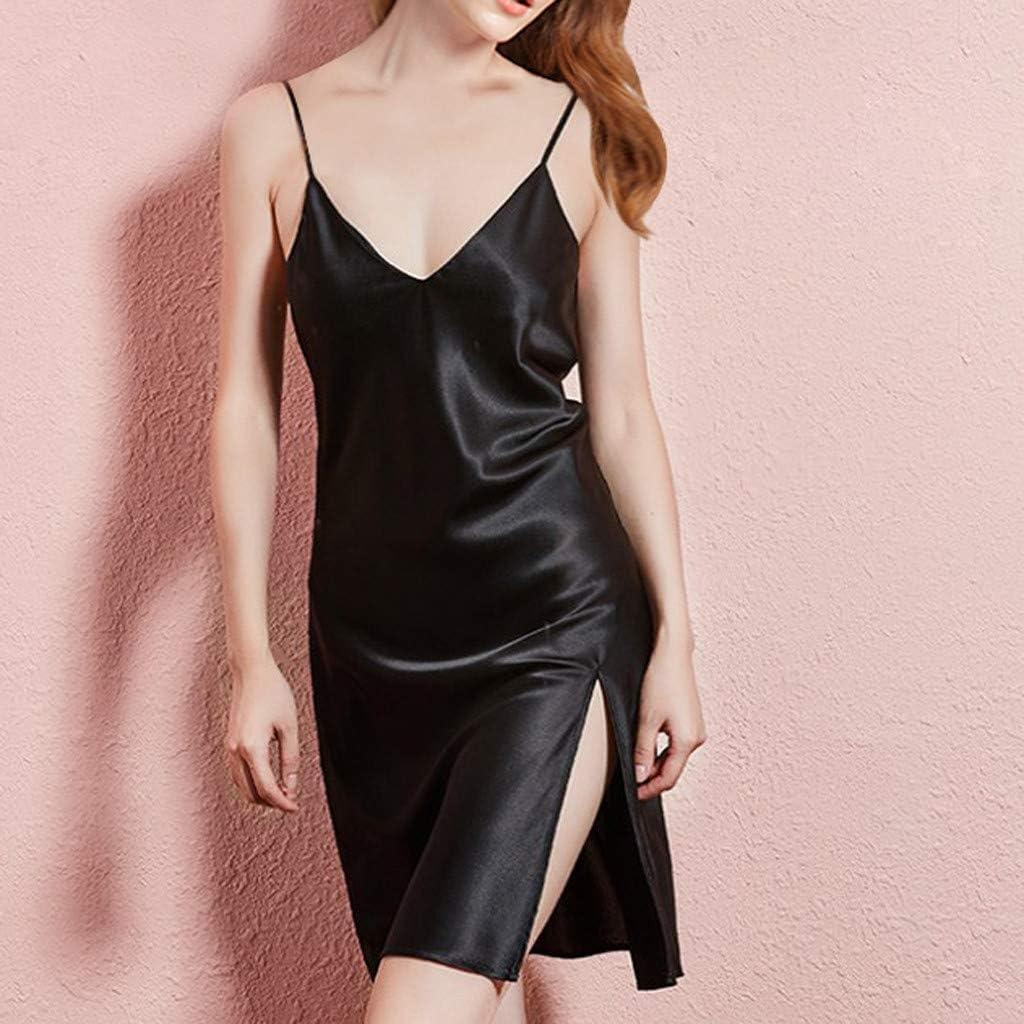 HIKO23 Women Lace One Piece Sleepwear Chemises V-Neck Full Slip Babydoll Nightgown Dress