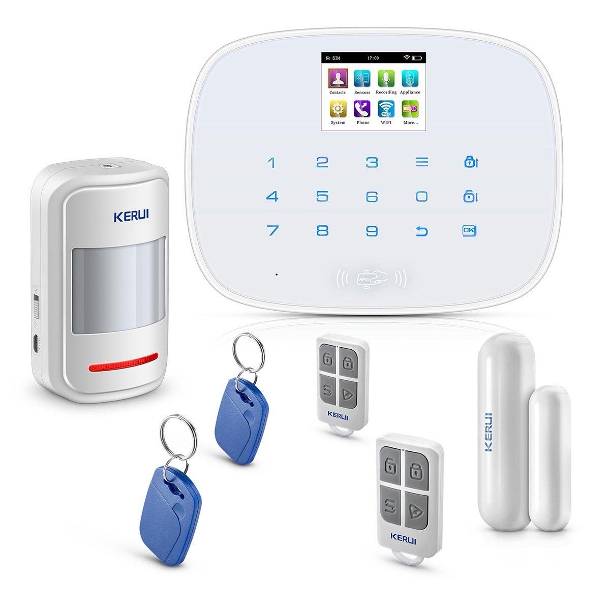 KERUI Wireless Home/House Business Security Alarm System,3G WIFI PSTN Auto Dial APP Remote Control Smart Burglar Alert DIY Kit ,W193 come with Door Contact Sensor and PIR Motion Sensor