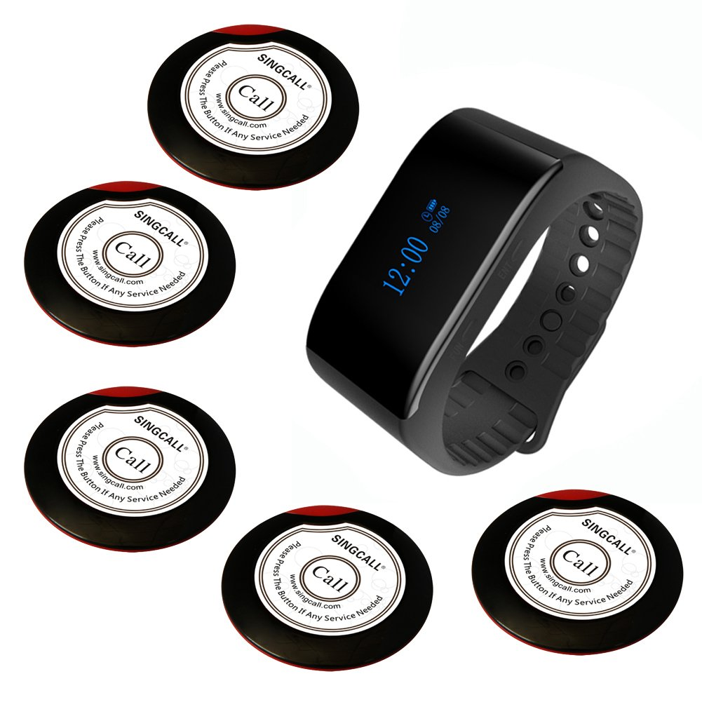 SINGCALL Wireless Calling System Waiter Service System, for Bank Restaurant Cafe Restaurant Hospital Factory Office, 5 Buttons 1 Waterproof Watch by SINGCALL